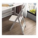 bjyx Silla plegable de madera maciza, plegable, silla de comedor, silla de comedor, marco de madera maciza, diseño plegable de camping (color: blanco)