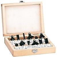 Einhell 4350199 RT-RO 55 / BT-RO 1200 E  - Pack de 12 fresas para madera, 8 mm, color negro