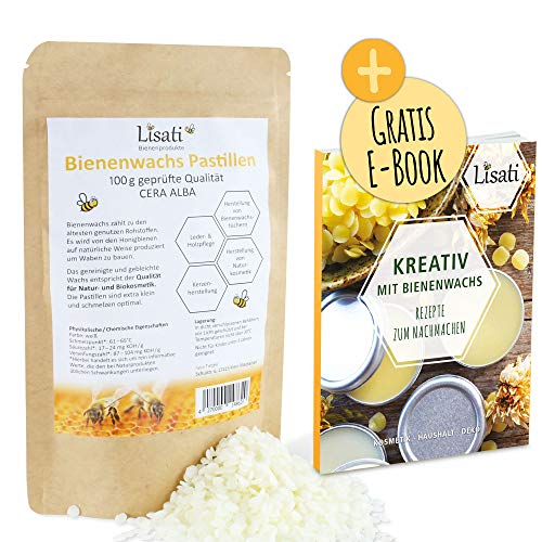 100g weiße zertifizierte schnell schmelzende Bienenwachs Pastillen vom Imker mit Rezepte PDF für die Herstellung Salben Seifen Kerzen