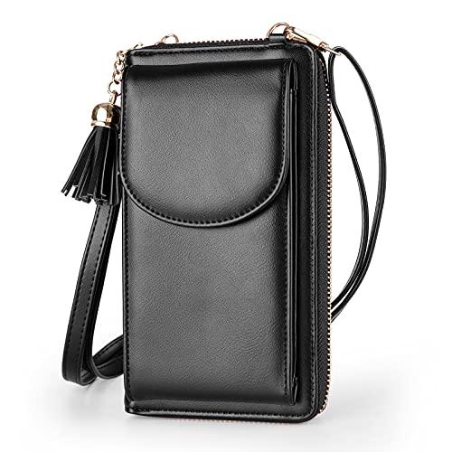 Bolso bandolera para mujer con borlas grandes pequeñas para teléfono celular, de cuero, para viaje, con tarjeta RFID, cartera para iPhone 11 SE 11 Pro Xr X Xs Max 8/7/6 Plus LG Stylo Samsung (negro)