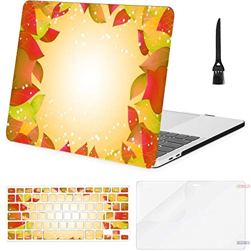 4 in 1 Laptop Case for MacBook Pro 15 inch Retina(2013-2015) with Retina Display,A1398 Autumn Yellow Leaves Templates Place Hard Shell Cover with Keyboard Cover Screen Protector Cleaning Brush