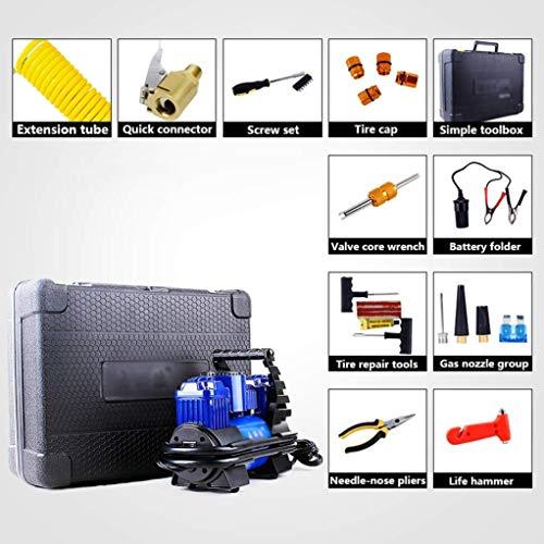 Dmqpp Gummireifen-Luftverdichter-Luftpumpe 12v, Pumpe Tragbare Fahrradreifen mit Manometer und tragbarer Toolkit, Schwerlast- Doppel-Zylinder Schnelle Inflations