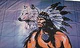 U24 Flagge Fahne Indianer mit Wolf 90 x 150 cm