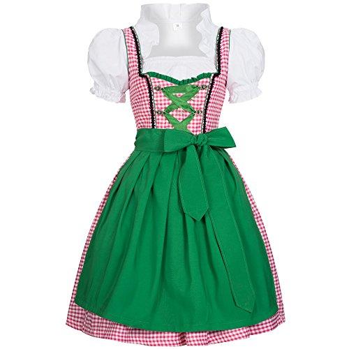 Dirndl Joy rosa weiß kariert mit Schürze in grün Gr. 46