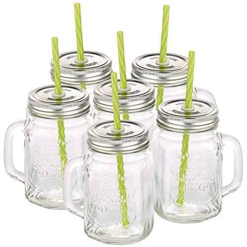 Retro-Trinkglas mit Henkel, Deckel und Trinkhalm, 6er-Set