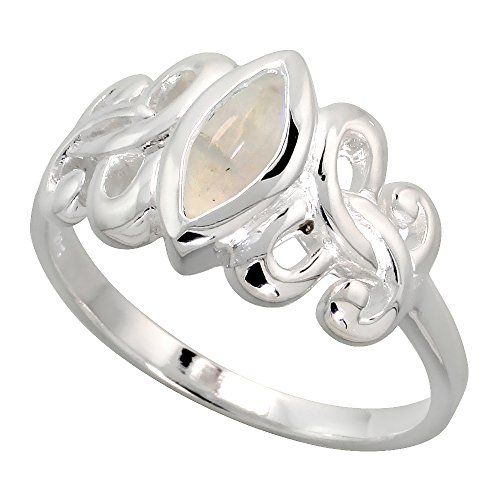 Sterling Silver Celtic Motherhood Symbol Knot Ring with Natural Moonstone, 3/8 inch Wide, Size 7