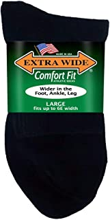 Big & Tall Men's Extra Wide Socks Athletic Quarter Large 12-16 Black 3-Pack #1210F