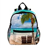 XiangHeFu Mochila escolar para niñas niño caminata al aire libre bolsa de viaje mochila Sillones de playa hawaiana Mochila estampada