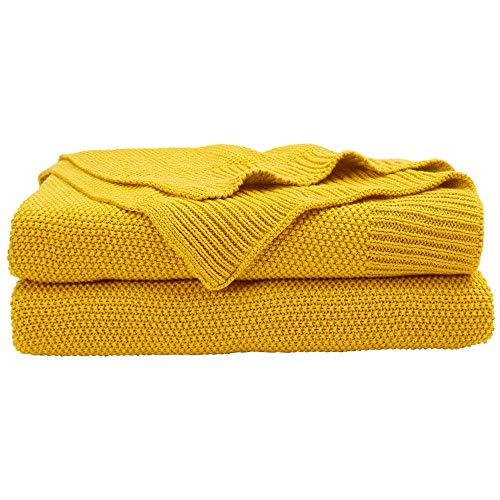 OliveSleep - Coperta in maglia di cotone, tinta unita, leggera, decorativa, per divano letto, divano e divano, in diversi colori e misure (giallo brillante, 130 x 150 cm)