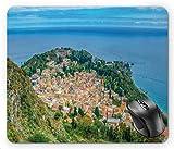 N\A Vista aérea de la Ciudad de la Costa de Sicilia Taormina Fotografía vívida en Colores enérgicos Cielo dramático, Alfombrilla de ratón Multicolor