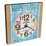 Arenart | 1 Reloj Bistrot Paris Ø38 cm| para Pintar con Arenas de Colores | Manualidades para Adultos y Jóvenes | Dibujo Fácil | Pintar por números | +9 años