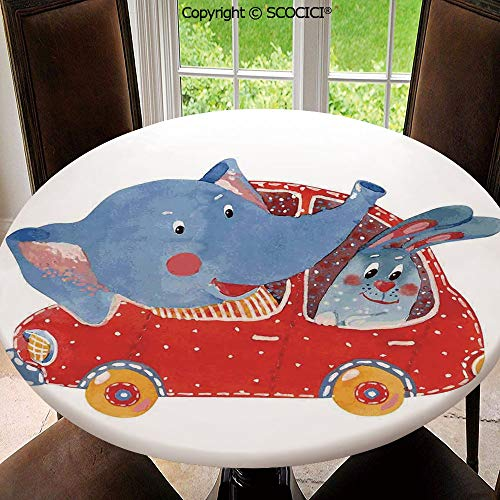 """SCOCICI New Decorative Elastic Edged Round Tablecloth Watercolor Sketch of Young Blushed Elephant and Hare in Small Car Best Friend Washable Table Cloth Dinner Kitchen Home Decor 63"""""""