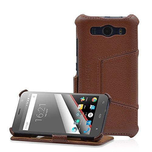PHICOMM Clue L Hülle | Smartphone Hülle mit Easy Stand | Tasche Echtleder in braun | Kartenfach
