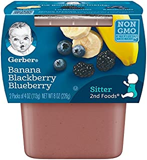 Gerber 2nd Foods Banana & Mixed Berry, 4 Ounce Tubs, 2 Count (Pack of 8)