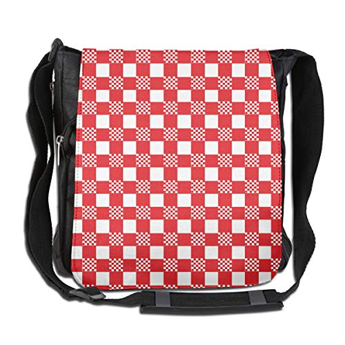 Doinh rood en wit tafelkleed op maat Canvas Messenger Tas, Inclined Schoudertas, geschikt voor zowel mannen als vrouwen