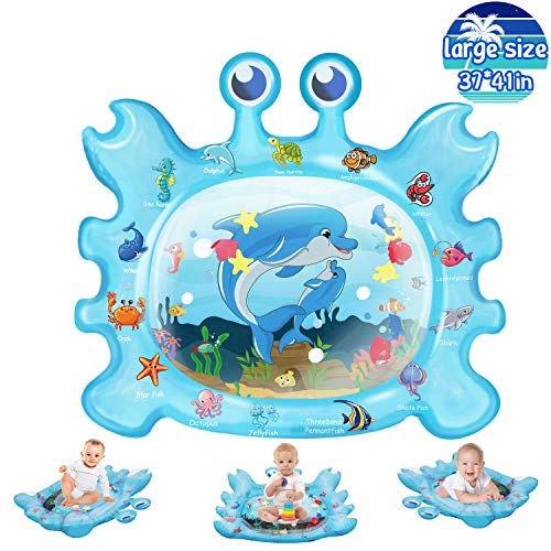 Abida Tummy Time Baby Water Mat, Infant Toy Newborn Inflatable Play Mat for Toddlers, Newborn, Infants Boy, Girl, Boby Gifts Sensory Toys for 3/6/9/12 Months Baby