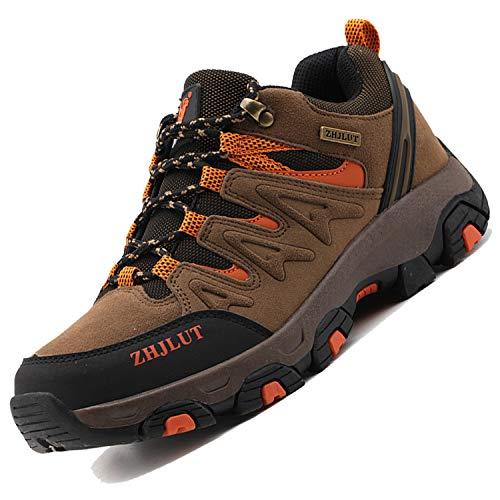 Unitysow Wanderschuhe Trekking Schuhe Herren Damen Sports Outdoor Hiking Sneaker Atmungsaktiv Turnschuhe Walking Wandern Anti-Rutsch Schuhe für Unisex Gr.35-47,Braun-2,Gr.47
