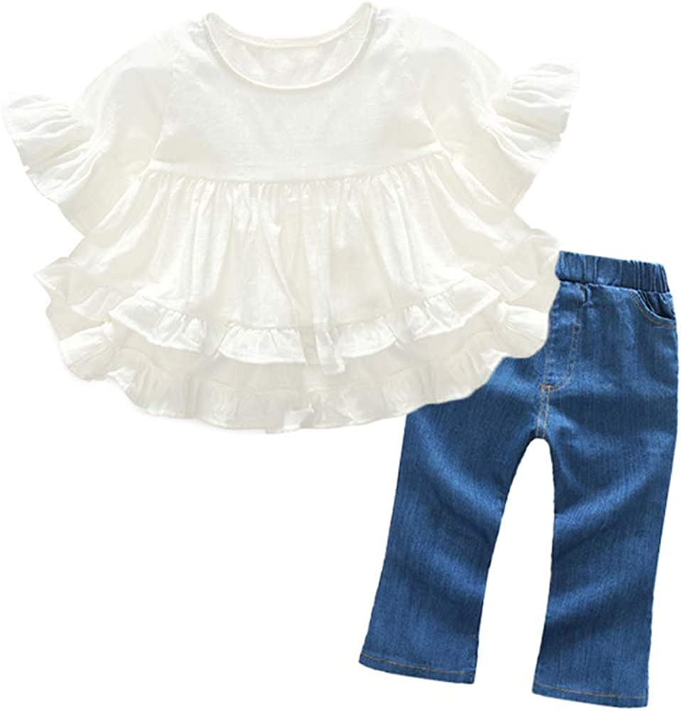 xirubaby Toddler Little Girls Spring 2 Piece White Short Sleeve Flounce Shirt+Jeans Outfit Set