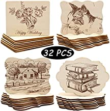 Unfinished Wood Ornaments, PETUOL Valentine Day DIY 32pcs 4x3in Creative Irregular Blank Wood Natural Slices for DIY Crafts, Painting, Pyrography, Writing, Photo Props, Coasters and Home Decorations
