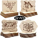 Unfinished Wood Ornaments, PETUOL Valentine Day DIY 32pcs 4x3in Creative Irregular Blank Wood Natural Slices...