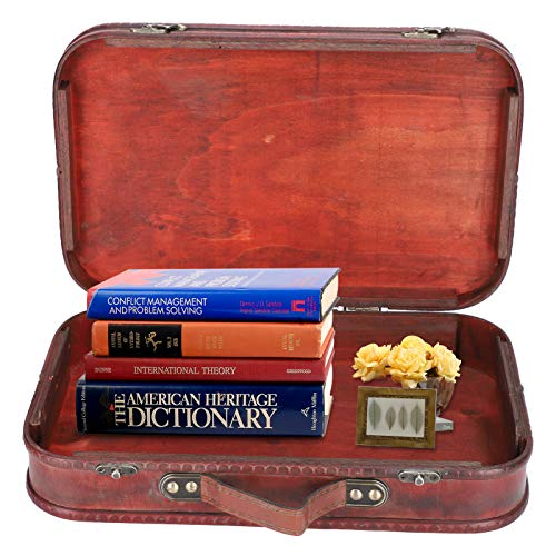 Asixxsix Maleta Retro, Maleta Retro de Gran Capacidad Caja de Madera Vintage Antigua Bolsa de Equipaje de Mano Estudio fotográfico Accesorios de fotografía para Tiendas Bloques de Libros, edredones,