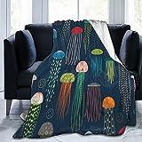 Just Jellies - Manta de franela de franela para cama o sofá de dormitorio, 156 x 100 cm