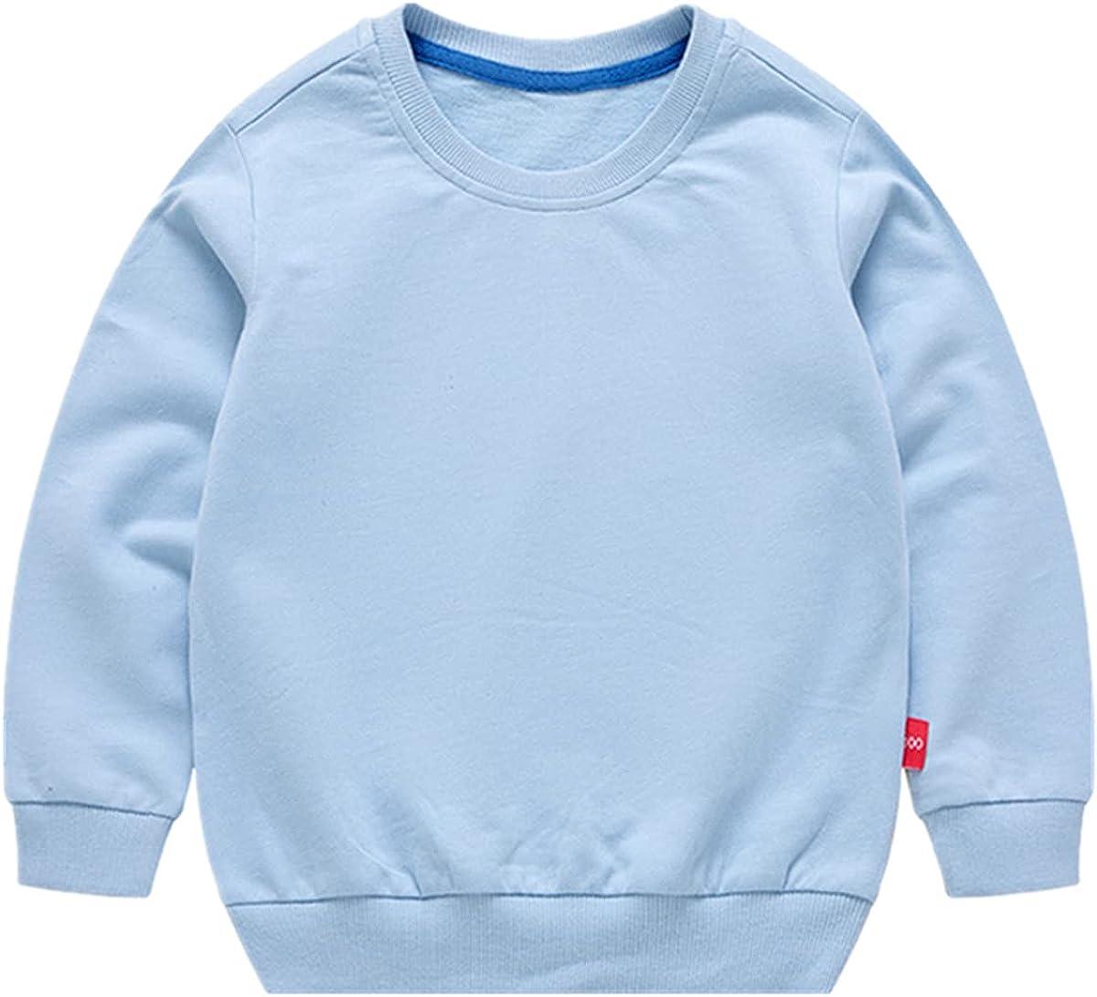 AdaliaFaye Boys' Crewneck Sweatshirt Girls Sport Long Sleeve Cotton Kids Toddler Casual Solid T-Shirt Pullover Tops