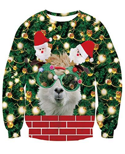 NEWISTAR Pull Noel Unisexe 3D Ugly Christmas Sweater à Manches Longues Fun Noël Elf Imprimé Sweat-Shirt