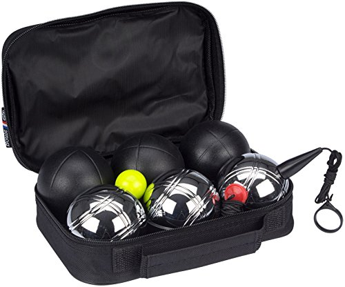 GetGo Jeu de Boules Boule Set, Black/Chrome, One Size