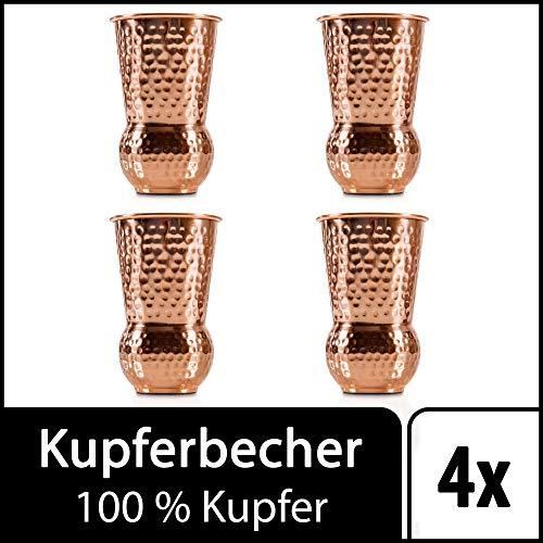 Sir Finley Monkey Moscow Mule Becher (4er Set), Kupferbecher gehämmert, hält Cocktails länger kalt, original Copper Mug Geschenk (100% Kupfer), Gin Mug 450 ml (Design Kelch)