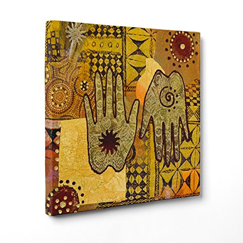 Cuadro sobre lienzo Canvas–ConKrea–Listo para colgar–Arte Abstracta africana–Indiana–Mandala hojas