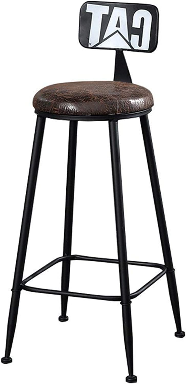 Iron Bar Stool High Stool, Retro Industrial Style, PU Cushion Family Bar Chair Design (color   Black, Size   65CM)