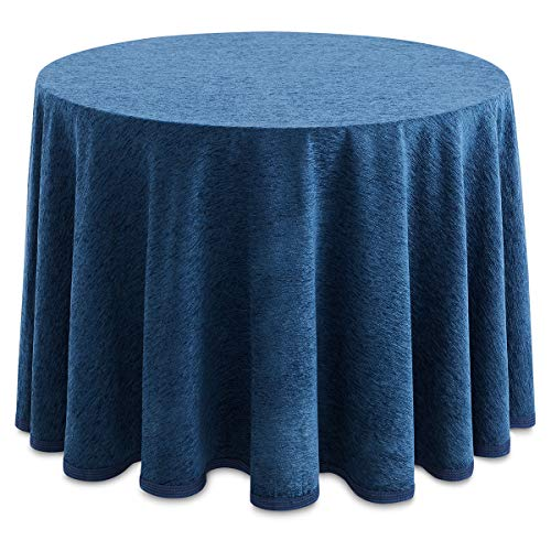 Lanovenanube - Falda Camilla Redonda Chenilla - 90 cm diámetro - Color Azul Oceano