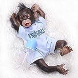 iCradle Bambole di Scimmie 16 Pollici Reborn Baby Chimpanzee Handmade 40Cm Real Life Soft Silicone Jocko Dolls Giocattolo per Bambini (Blue)