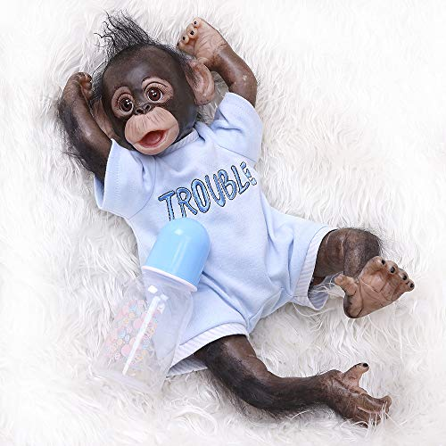 Pinky Reborn New 40CM 16Inches Handmade Detailed Painting Job Reborn Baby Monkey Orangutans in Black Collectible Art Doll (Boy)