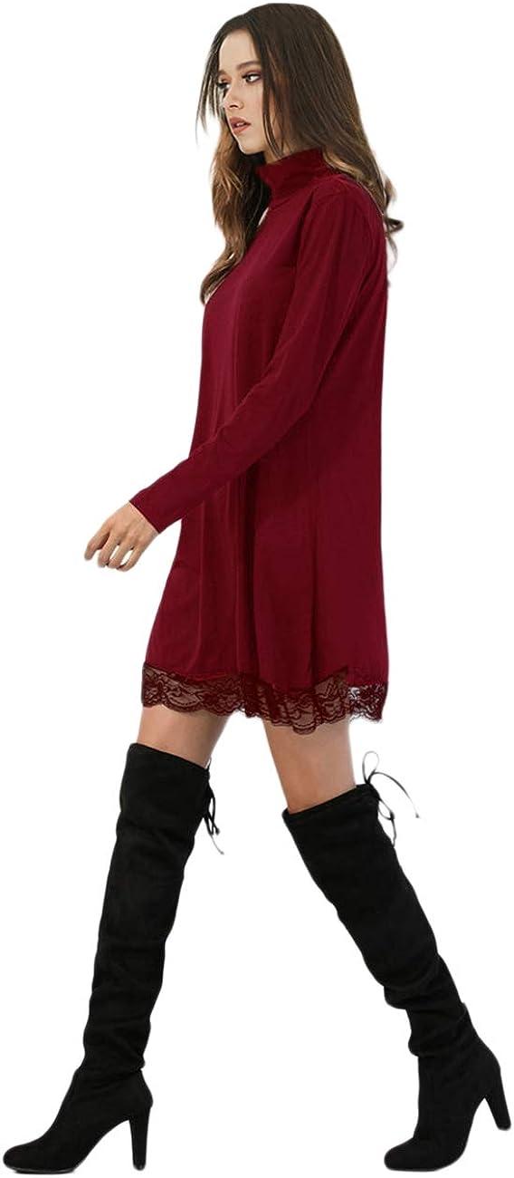 Leadingstar Women Turtleneck Loose Fit Cotton Lace Casual Dress