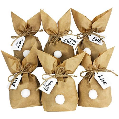 Papierdrachen 12 Osterhasen zum selber Basteln und Befüllen - Kreatives Geschenk zu Ostern mit 12 Papiertüten, Kordel und Pompons - Vintage 2020