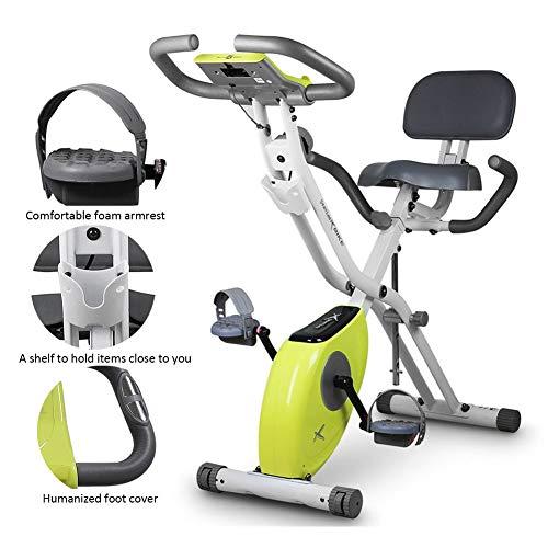 XIAODIANER Folding Magnetic Cyclette,con Display LCD, Sensori delle Pulsazioni,Home Trainer Regolabile in Altezza con Resistenza velocità,per Allenamento Fitness