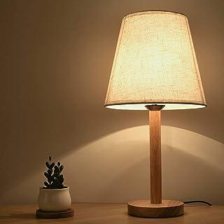 LED Lámpara de Mesa, LED Luz Mesita de Noche, E27 Lámparas de escritorio, Pantalla de Tela, Madera maciza minimalista y Pantalla de telaperfecto para Dormitorio, Estudio, Salon etc,enchufe europeo