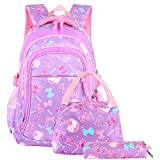 Vbiger Girls School Bags Primary Kids Backpack Waterproof Lightweight Backpack Book Bag with Pen Case Lunch Bag (Purple)