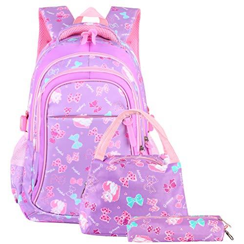 Vbiger Schulranzen Mädchen Schulrucksack Schultasche Rucksack Kinder Daypack 3 Teile Set für Schule und Freizeit Lila