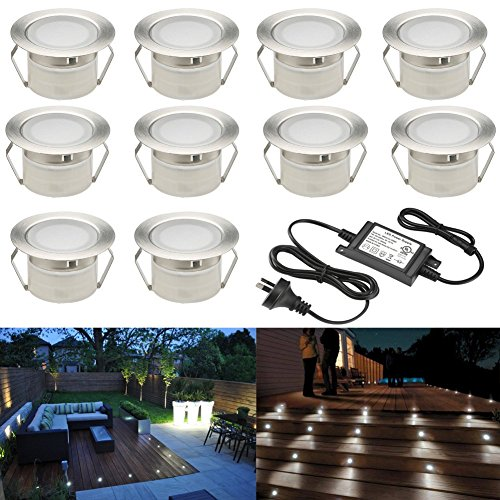 Low Voltage LED Deck Lighting Kit Stainless Steel Waterproof Outdoor Landscape Garden Yard Patio Step Decoration Lamp LED In-ground Light, Pack of 10 (Cold White)