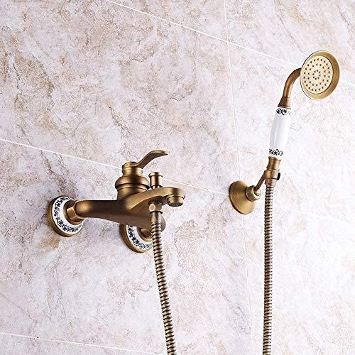 Norte Europa cobre cerámica antiguo baño europeo ducha conjunto caliente y frío vintage montado en la pared Supercharged Handheld sistema de ducha 2 funciones bronce con grifo hermoso práctico