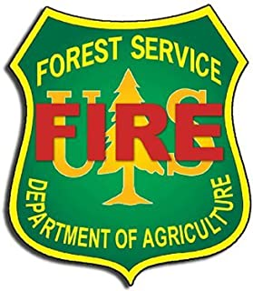 FIRE Forest Service Shield Shaped Sticker (forestry logo decal)