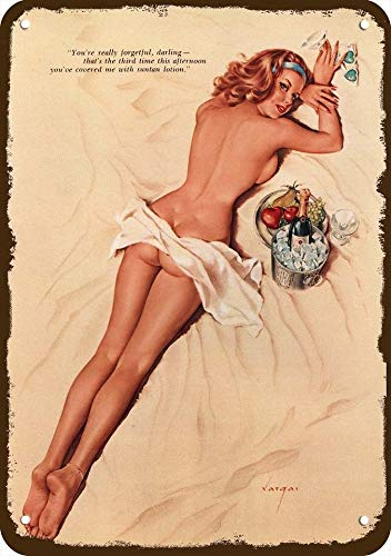 Laptopo 1964 Alberto Vargas Art Vintage Look Metal Sign Sexy Red-Head Woman Pinup Pin-UP