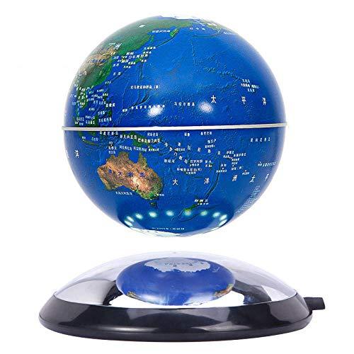 Whinop 6 Pulgadas Globo Flotante de Levitacion Magnetica Azul Mundo Globo para Niños Niñas Lámpara de Escritorio de Mesa Decoración del Hogar
