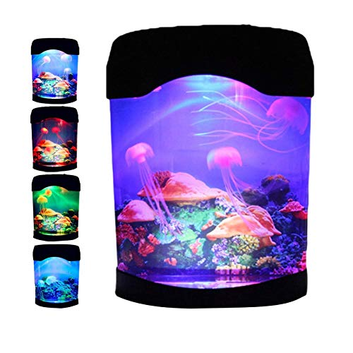 SmartCoolous LED Jellyfish Lamp with 7 Color Electric Aquarium Tank Ocean Night Lights Changing Portable Desk Fish Tank Lamp USB/Battery Powered Night Jellyfish Light for Home Office Hotel