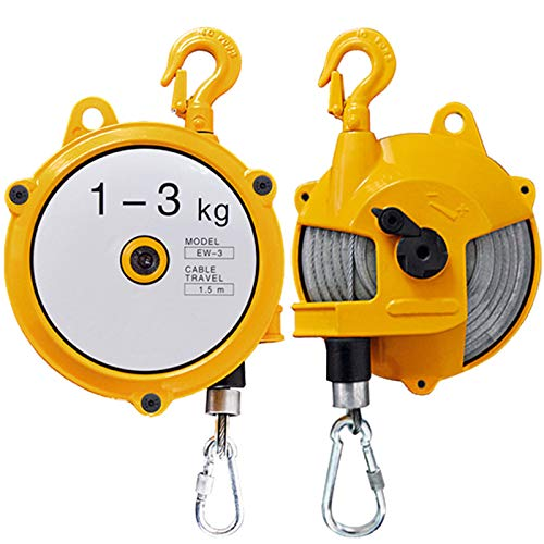 LXYYSG Spring Balancer Retractable, Adjustable Spring Balancer Self Locking Hanging Tension Retractor Tool, Spring Balancer with Hook and 1.5m Wire Rope for Hanging Heavy Objects