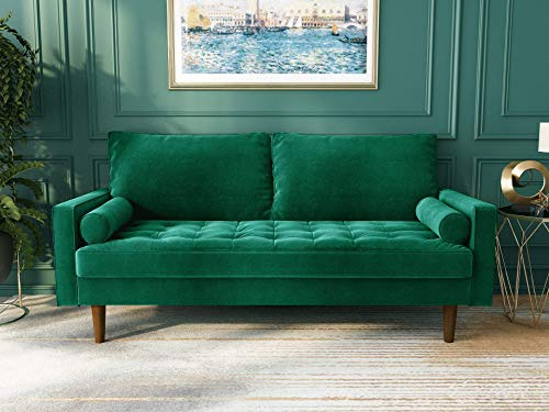 "WANSE Velvet 70"" Square Arm Loveseat,Couch with Solid Wood Frame, Easy Assembly,for Guest Room, Teenager's Room, and Small Apartment,31.9"" H x 69.7"" W x 33.1"" D (Green)"
