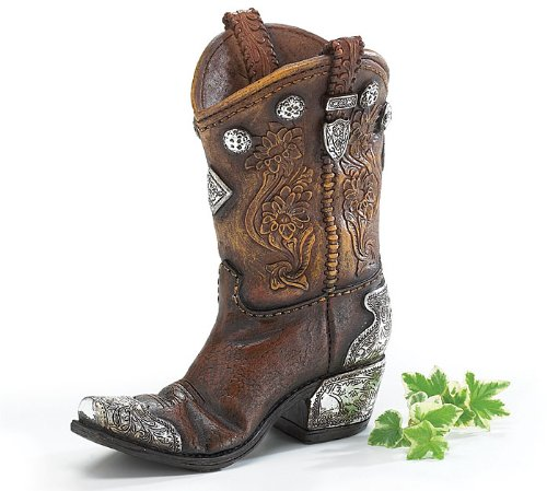 Burton and Burton Boots And Spurs Western Cowboy Boot Vase For Western Home Decor, Brown